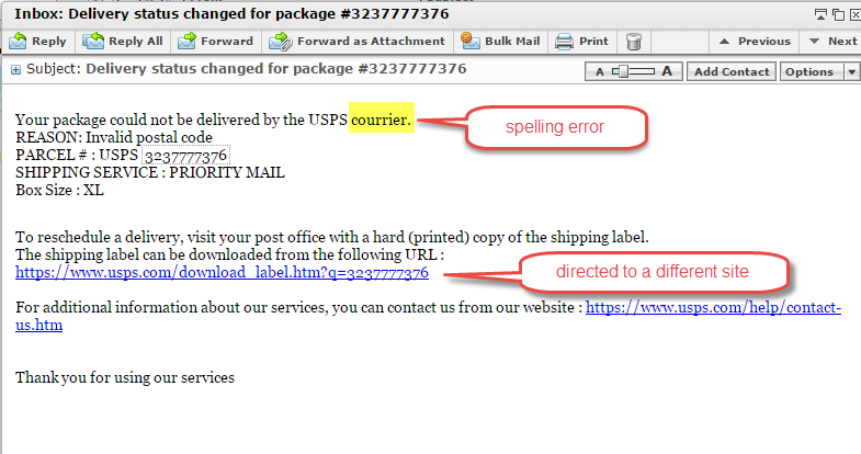 Figure 1: Image of the spam email