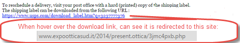 Figure 2: The redirect link shows when hovering over the download link.  DO NOT GO TO THIS WEBSITE!