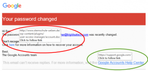 Google - password changed links 1