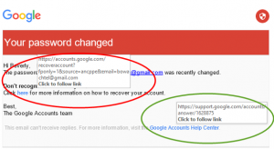 Google - password changed links 2